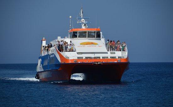 Ferry, Chalki, Greece, Sea, Blue, Island