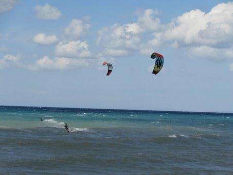Kite Surf, Sea, Cyprus, Surf, Water Sports, Morphou Bay