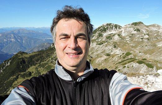 Selfie, Man, Mountain, Small Dolomites, Alps