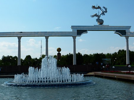 Tashkent, Independence Square, Monument, Water Games
