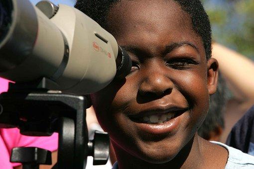 Binocular, Lens, Through, Enjoys, Child, Face, Boy