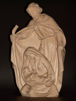 Virgin Mary, Maria, Joseph, Christ, Wood Carving, Wood