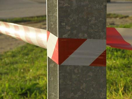 Security Tape, Red, White, Tape, Warning, Designation
