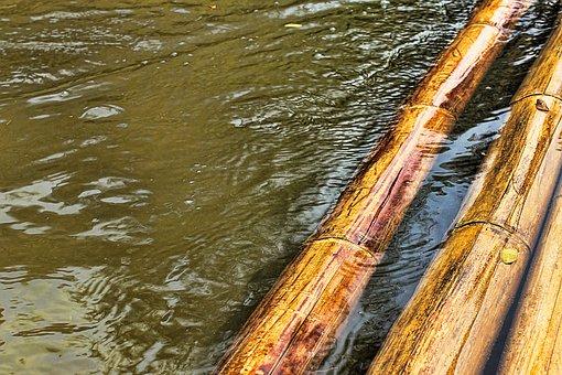 Bamboo, Raft, Water, River, Drive, Swim, Wet