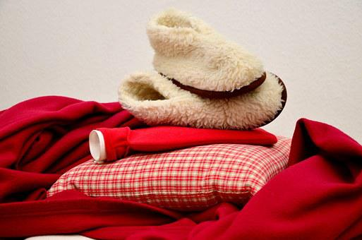 Warm, Blanket, Hot Water Bottle, Slippers, Winter