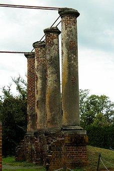 Columns, Ruins, Doric, Portico, Damanged, Ancient