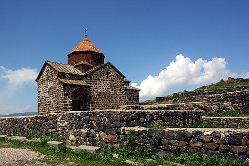 Armenia, Sevan, Monastery, Sky, Mountains, Architecture