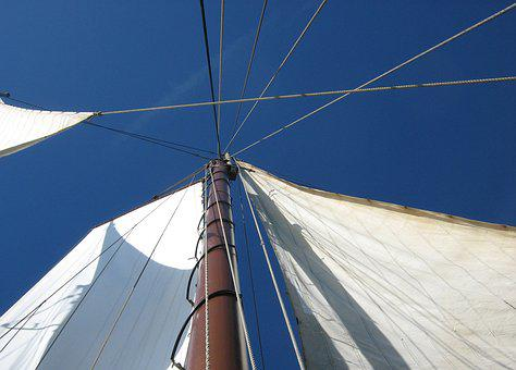 Sail, Blue Sky, From The Bottom, Mast Tip, Sky, Blue