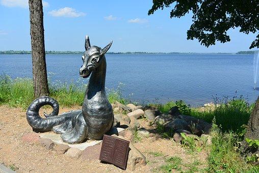 Dragon, Lake, Tree, Book, Monument, Nature, Landscape