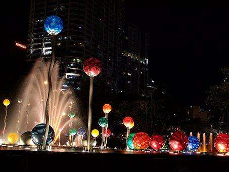 Night, City, City At Night, Water, Urban, Architecture