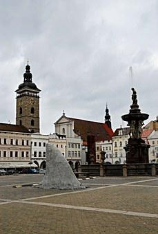 Czech Budejovice, Square, Shark Fin, Black Tower