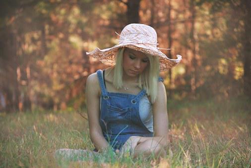 Girl, Grass, Sitting, Summer, Young, Nature, Female