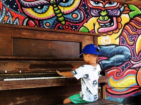 Piano, Boy, Child, Playing, Happy, Sitting