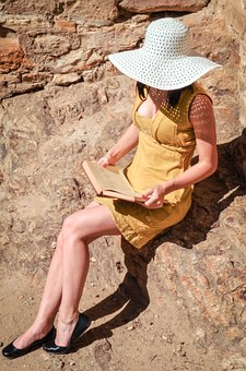 Woman, Dress, Hat, Nature, Reading, Book, Young, Person