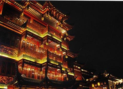 China, Shanghai, Illumination, Nocturne, Building