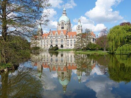 Hanover, Maschpark, Town Hall, Lake, Pond, Mirroring