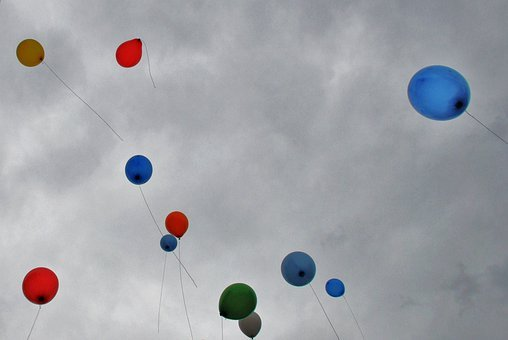 Balloons, Gasfilled, Flying, Colours, Fun, Red, Blue