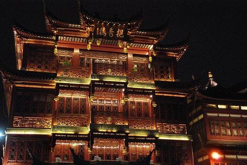 China, Shanghai, Old Town, Illumination, Buildings