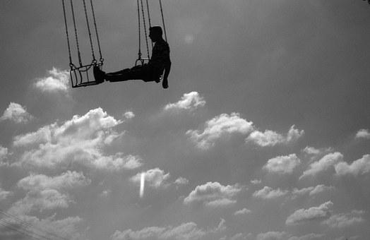 Cloud, Swing, Fly, Tips, Sky, Black And White