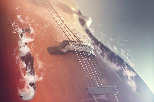 Guitar, Smoke, Sound Holes, Vintage, Acoustic