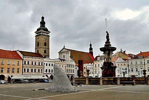 Czech Budejovice, Square, Black Tower, Fountain, Samson
