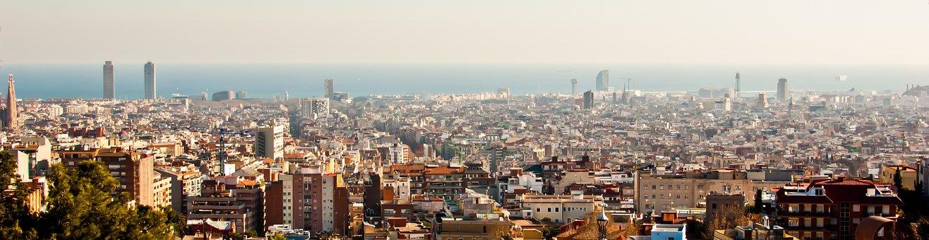 City, Panoramica, Barcelona, Spain, Travel, Europe