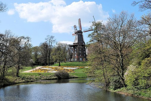Park, Bremen Bürgerpark, Water, Trees, Windmill