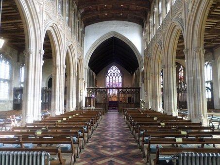 Lavenham Church, Pews, Aisle, Historical, Arches