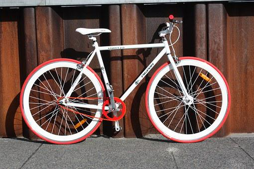 Bike, Flying Pigeon, Fixie, White, Red, Design