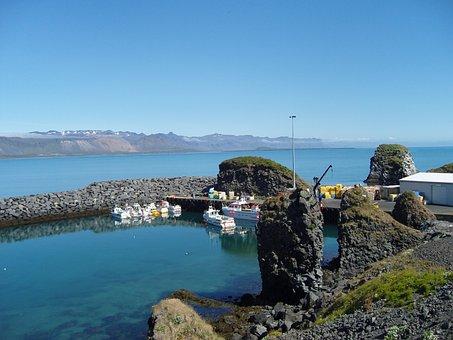 Iceland, Boats, Water, Lake, Blue, West Coast, Idyllic