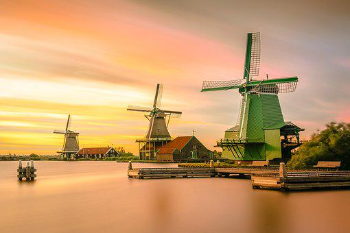 Architecture, Windmills, Holland, Buildings, Dawn, Dusk