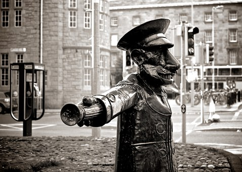 Usher, Statue, City, Streets, Urban, Black And White