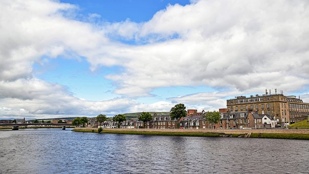 Scotland, England, Inverness, City, River, Sky, Clouds