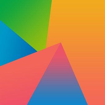 Gradient, Wallpaper, Colors, Triangles, Green, Orange