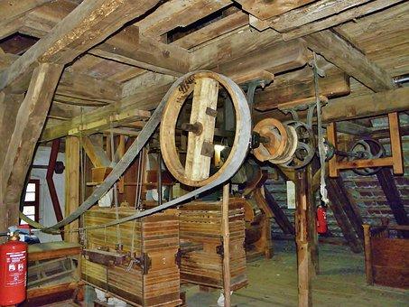 Mill, Drive, Belts Transmission, Water Mill, Mechanics