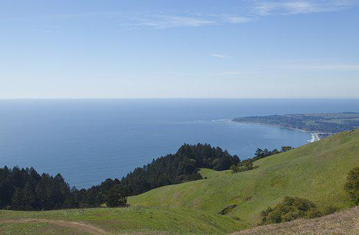 Mount Tam, Stinson Beach, Pacific, Ocean, Grass, Beach