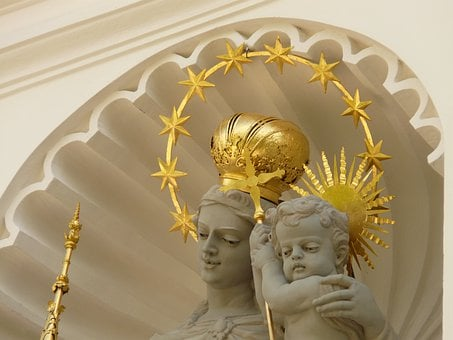 Angel, Holy, Gold, Crown, Halo, Scepter, Woman, Child