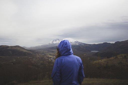 Girl, Woman, Hood, Jacket, Landscape, Nature, Adventure