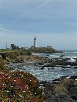 Pigeon Point Lighthouse, Highway 1, Coast, Flowers