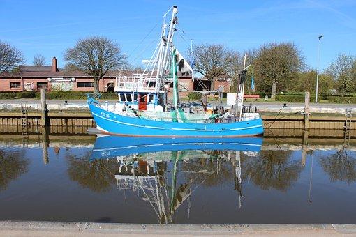 Cutter, Shrimp, Port, Fishing Port, North Sea, Ship