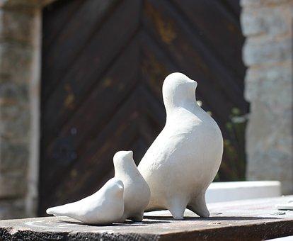 Pigeons, Ceramics, White Clay, Pottery