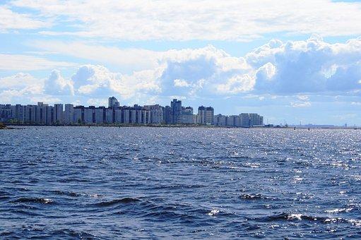 Sea, Water, Blue, Ocean, Glistening, Row Of Buildings