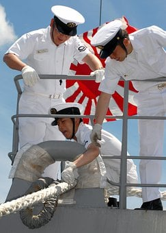 Japanese, Navy, Sailors, Ship, Outside, Rail, Railing