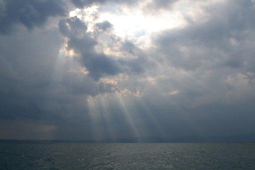 Lago Di Garda, Water, Sun, Clouds, Light, Pond, Sunset