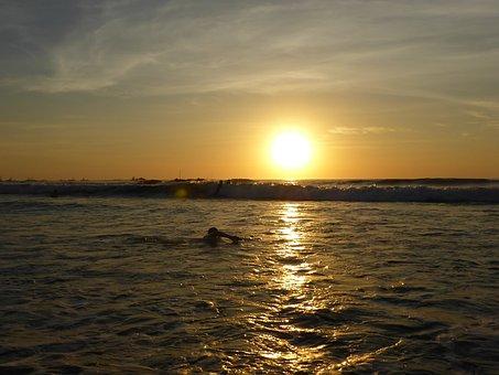 Sunset, Surfers, Tamarindo, Costa Rico, Tropical