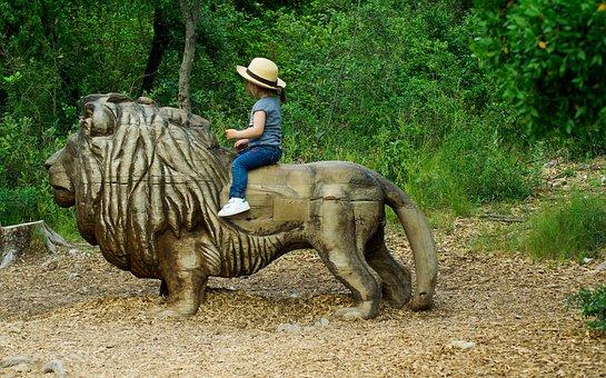 Lion, Sculpture, Tawny, Feline, Child