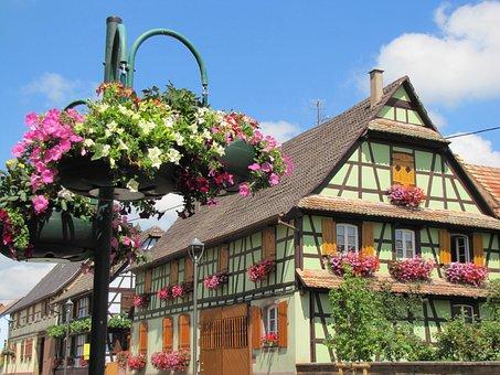 Ban-rhin, France, Town, Village, Buildings, Flowers