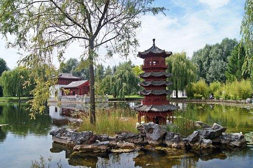 Chinese Garden, Pond, Water, Tea House, Park