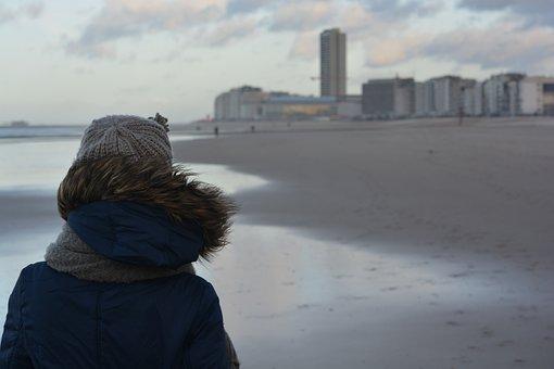 Winter, Winter Clothing, Walk On The Beach, Woman