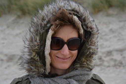 Woman, Winter, Sunglasses, Jacket, Clothing, Hood